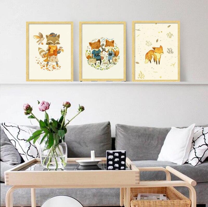 nueva modern nordic lindo zorro animales pastizales art print poster pared foto lienzo pintura no frame