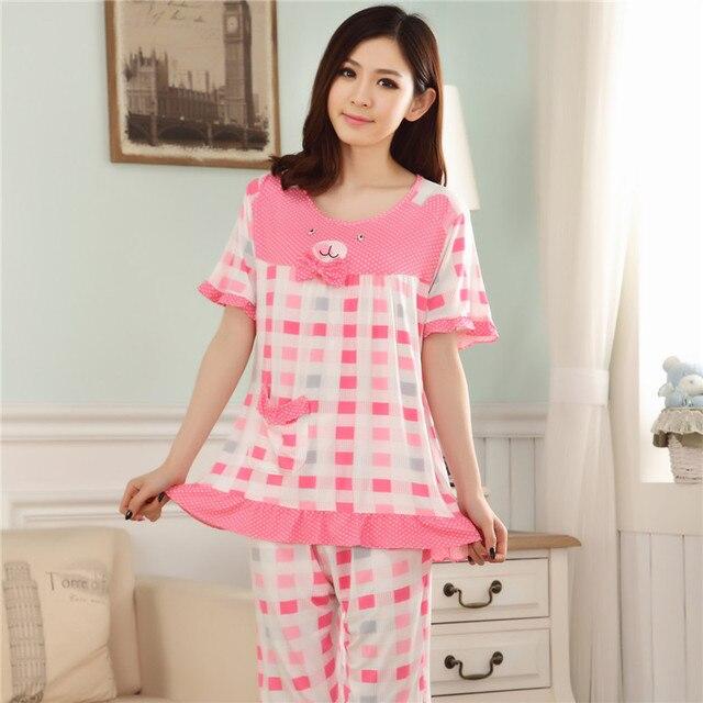 4c3451afa3812 Cute bow pajamas women summer short sleeve modal pijamas mujer plus size M  L XL XXL 3XL 4XL sleepwear o-neck lounge homewear