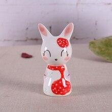 цена на 5pcs ceramic rabbit girls home decor crafts room decoration ceramic dolls ornament porcelain animal figurines decorations