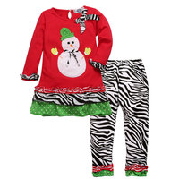 Girls Boutique Clothing Suits Snowman Print Toddler Christmas Outfits Girl Garment Christmas Pajamas Little Girl Party