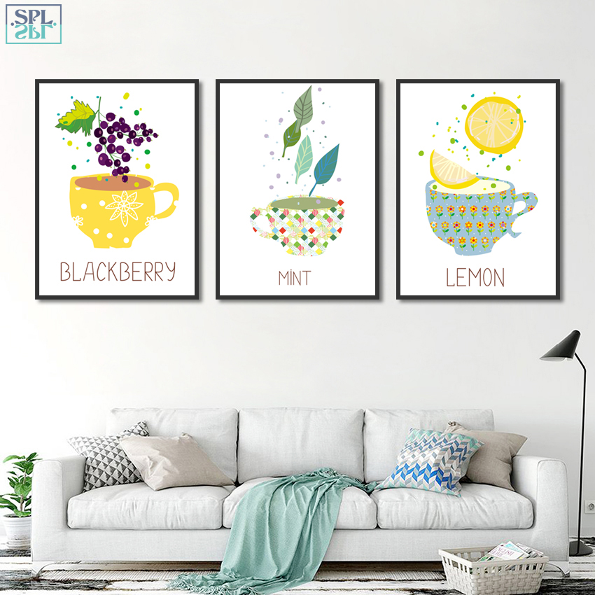 SPLSPL Kitchen Room Decoration Picture Mint Lemon Cute Cup Cartoon Canvas Art Print Wall Poster Painting for Kids Room