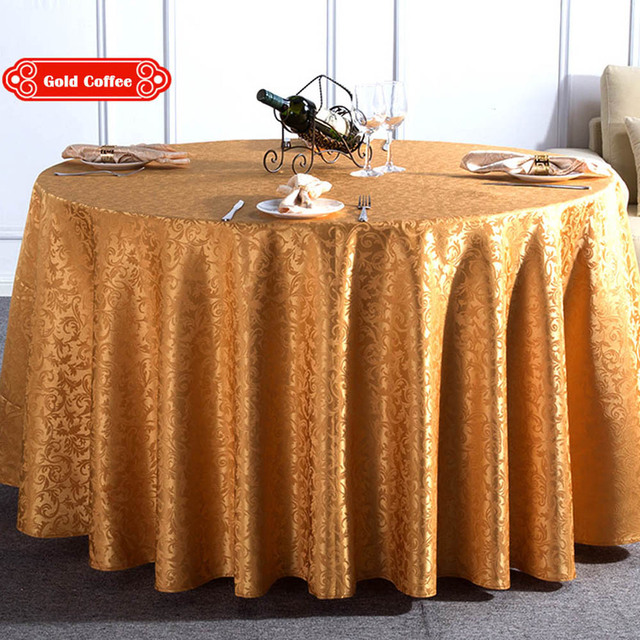 Multi Size Jacquard Polyester Washable Hotel Round Dinner Table Cloth  Wedding Party Decorative Gold White Durable