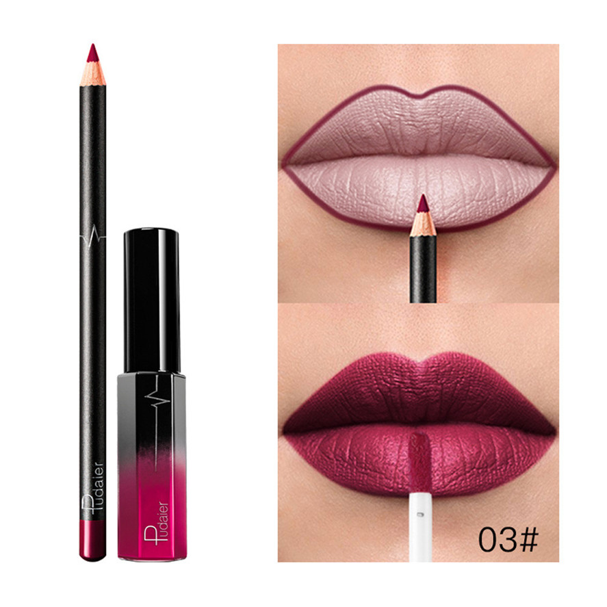 <font><b>Pudaier</b></font> Makeup <font><b>Set</b></font> 1pc Long Lasting Liquid <font><b>Lipstick</b></font> +1PC <font><b>Lip</b></font> Liner <font><b>Cosmetics</b></font> <font><b>Set</b></font> Waterproof <font><b>Matte</b></font> <font><b>Lip</b></font> Liner <font><b>Lips</b></font> <font><b>Gloss</b></font> 33 image