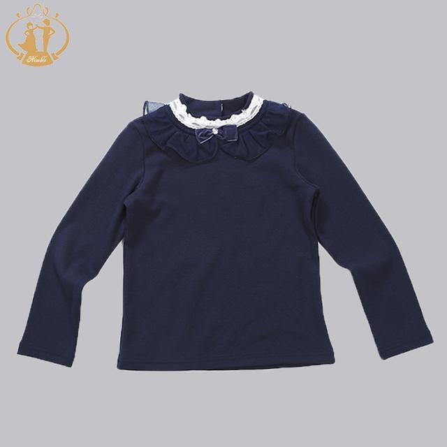 Nuevo Bebé Moda Infantil Otoño Invierno de Punto Suéter de Las Muchachas Niños Tocando Fondo Camisa de Encaje Suéter de La Flor