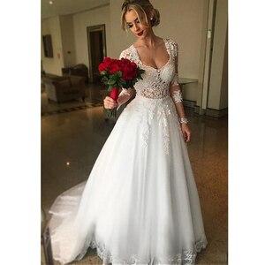 Image 3 - Suknia balowa 2 w 1 suknie ślubne 2020 odpinany pociąg koronkowe aplikacje suknie ślubne z perłami Vestido De Novias robe de mariee