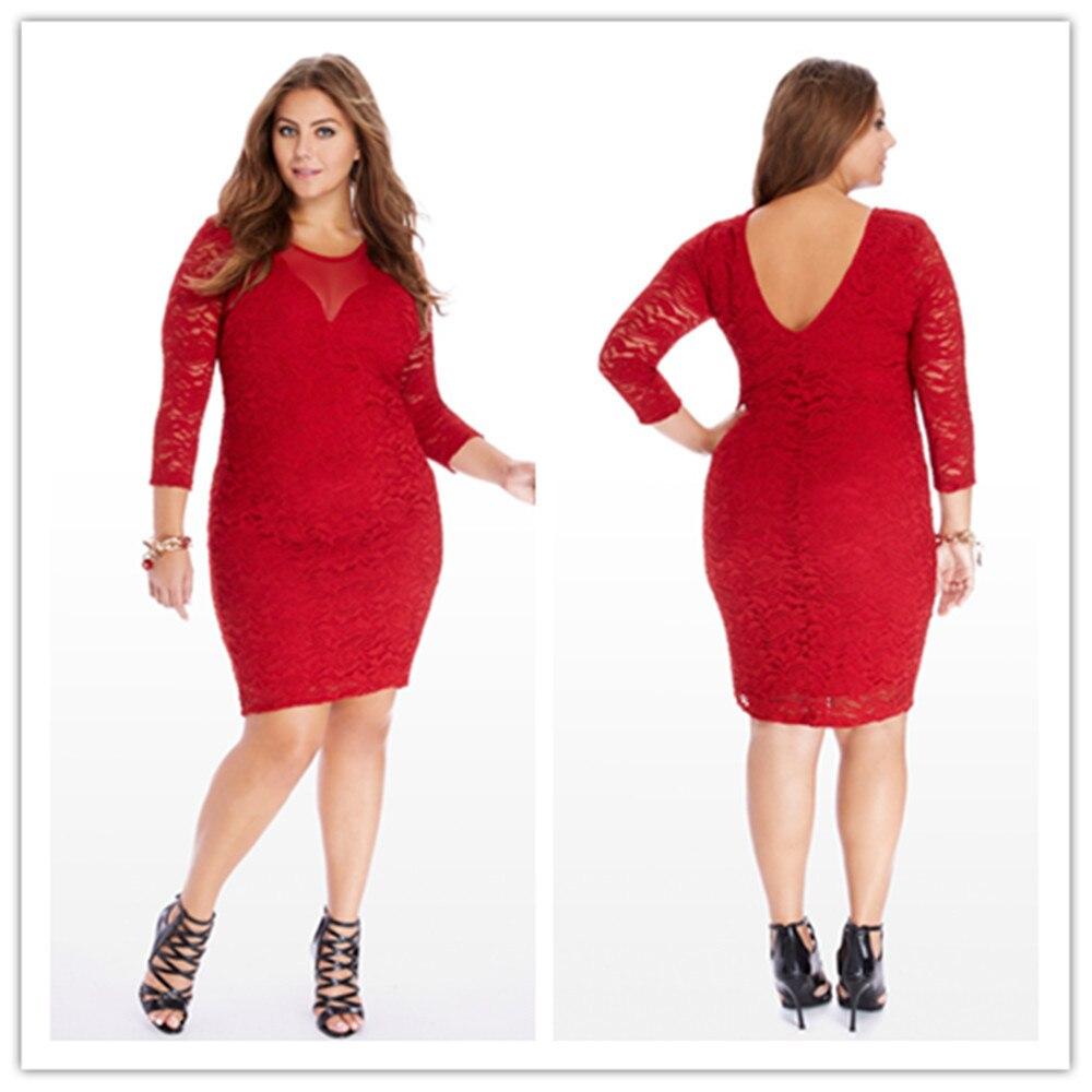 Women Large Size Xxxl To Xxxxxxl Lace Pencil Red Out Slim Vintage Three Quarter Sleeve Knee Length Dresses