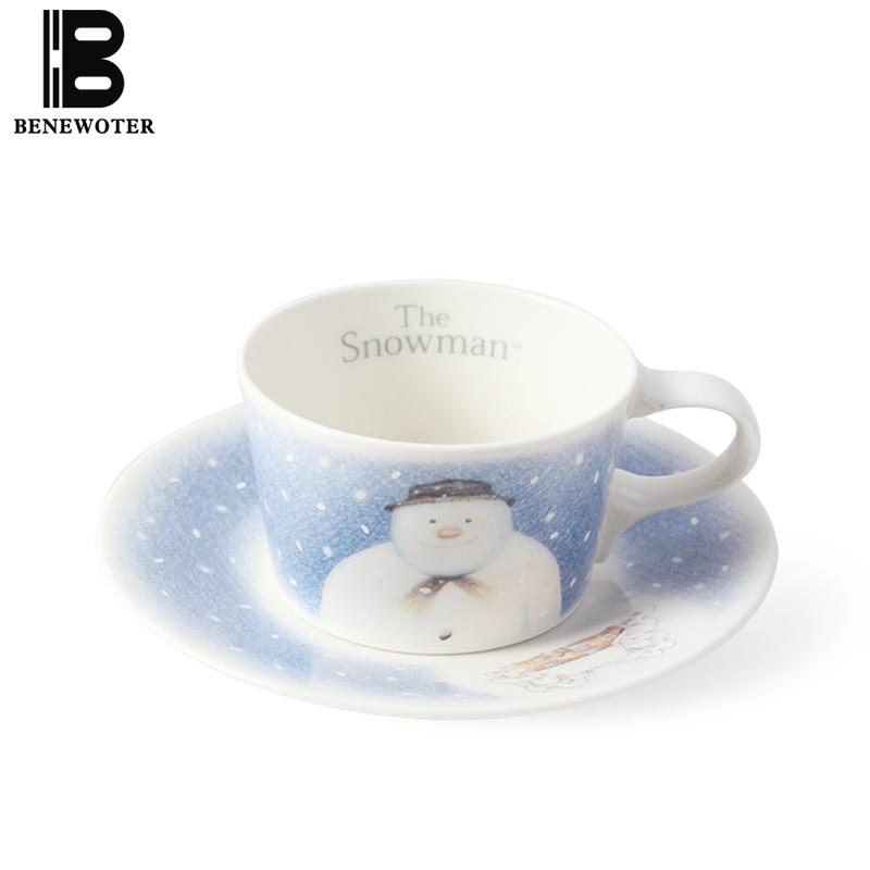180 ml Creative Lovely Snowman Coffee Cup Ceramic Porcelain Coffee Mug Christmas Gift Breakfast Milk Cup with Saucer Drinkware