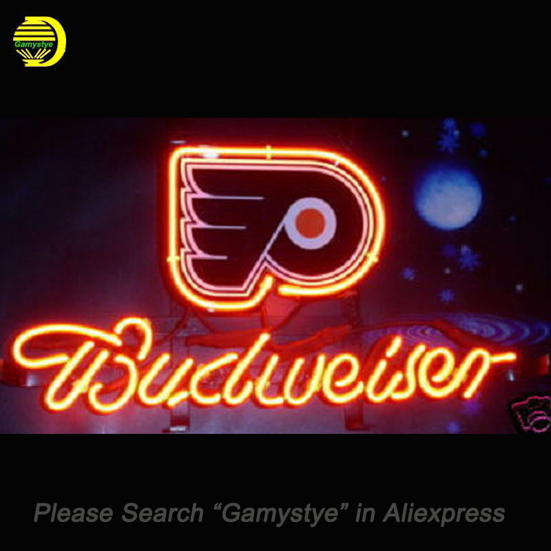 NEON SIGN For NHL Philadelphia Flyers Hockey Beer GLASS Tube Budweiser HANDCRAFT Advertise display Night Light Signs 13x8 inch led neon open sign for shop cafe bar pub with 12v ultra bright led neon flexible light tube customized diy led advertising light