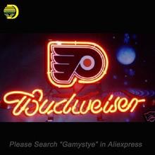 NÉON SIGNE Pour NHL Philadelphia Flyers Hockey Bière EN VERRE Tube Budweiser ARTISANAT Annoncer Éclairage De Nuit d'affichage Signes 13×8 pouces