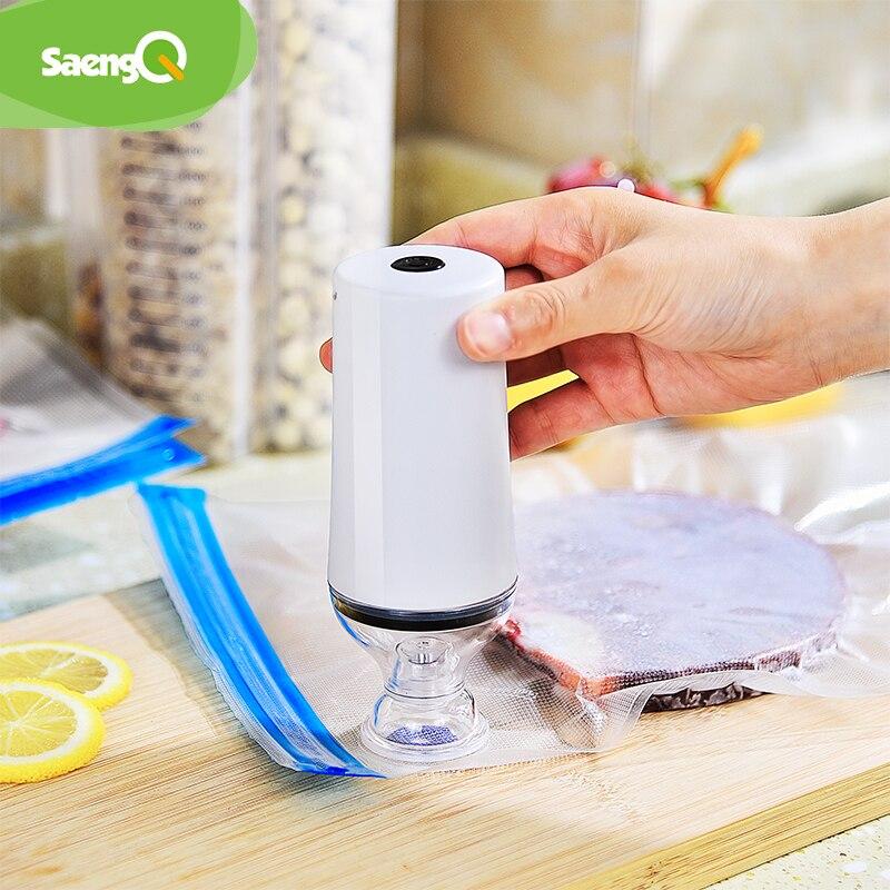 SaengQ USB Household Food Vacuum Sealer Packaging Machine Sealer Handheld Vacuum Packer Including Recycle Bags For Vacuum Packer
