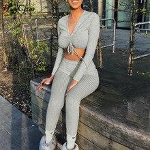 Hugcitar haut court, sexy, haut à manches longues, col en v, ensemble deux pièces pour femme, streetwear, t rhist, survêtement, automne hiver 2019