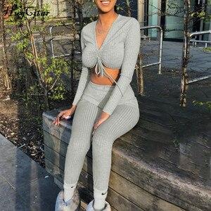 Image 1 - Hugcitar v 넥 긴 소매 섹시한 자르기 탑스 바지 2 2 개 세트 2019 가을 겨울 여성 streetwear t rhist trousers tracksuit