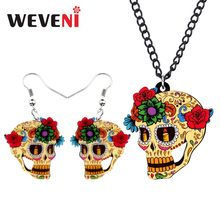 WEVENI Acrylic Halloween Flower Retro Skull Earrings Necklace Trendy Jewelry  Sets For Women Girls Costumes Decorations Female 53c3576f95d1