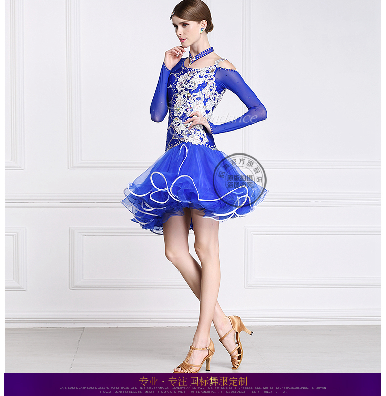customize custom back cutout royal blue stone Rumba cha cha salsa tango Latin dance competition dress