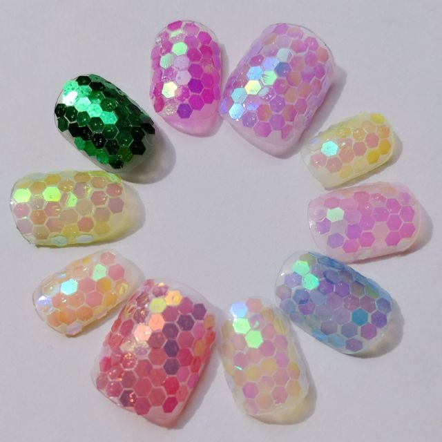 Aliexpress buy 12 color holo candy nail art sequin ultra 12 color holo candy nail art sequin ultra thin hexagon sequins acrylic glitter nail art tools prinsesfo Images