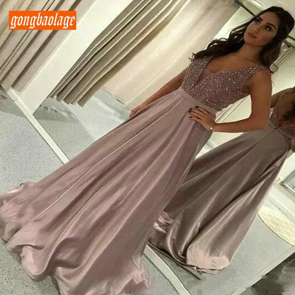 Élégante robe de soirée femme rose vif 2019 longues robes formelles fête col en V élastique Satin pailleté dos nu robe réfléchissante nouveau