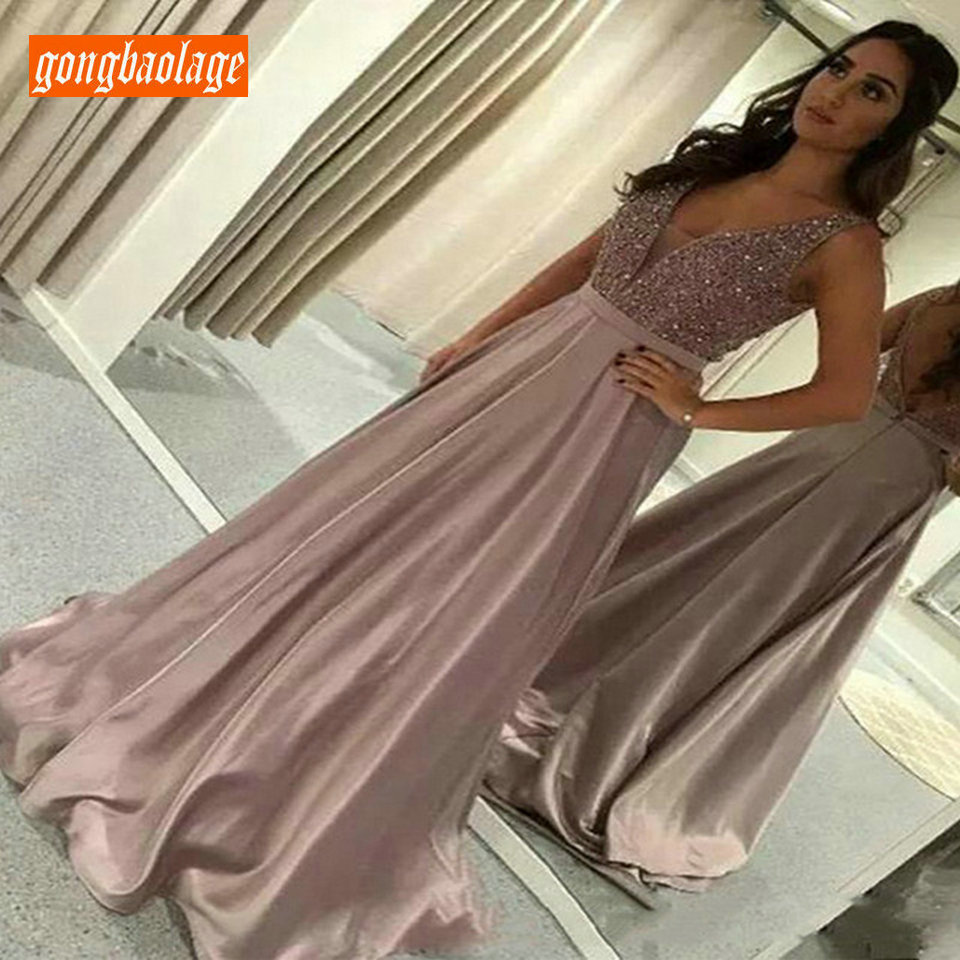 Elegant Hot Pink Women's Evening Gown 2019 Long Formal Dresses Party V Neck Elastic Satin Sequined Backless Reflective Dress New