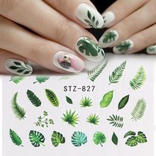 2Pcs/Set Fresh Nail Stickers Black Leaf Flower Decal Water Transfer Sticker Nail Art Slider For Manicure Decoration(China)
