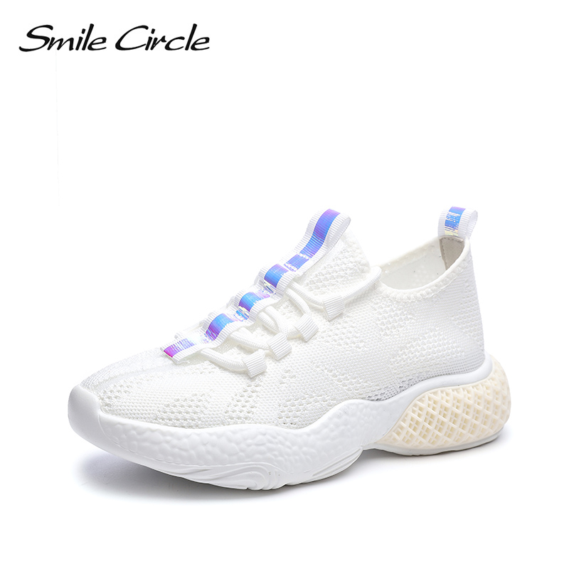 Smile Circle Women knitting Sneakers Flat Platform shoes Women 2019 Spring Thick bottom Breathable Lace up