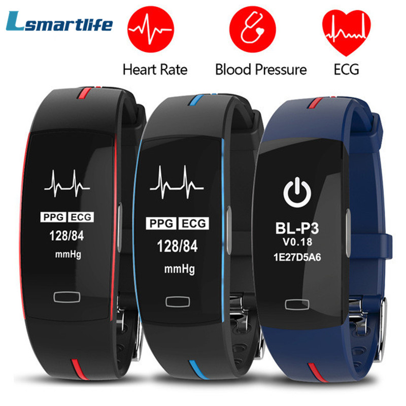 H66 Blood Pressure Band Heart Rate Monitor PPG ECG Smart Bracelet P3 Activit fitness Tracker Watch
