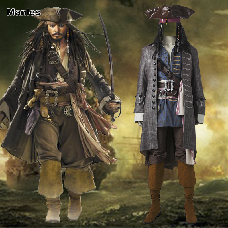 Captain Jack Sparrow Costume Pirates Of The Caribbean Cosplay Dead Men Tell  No Tales Salazaru0027s Revenge