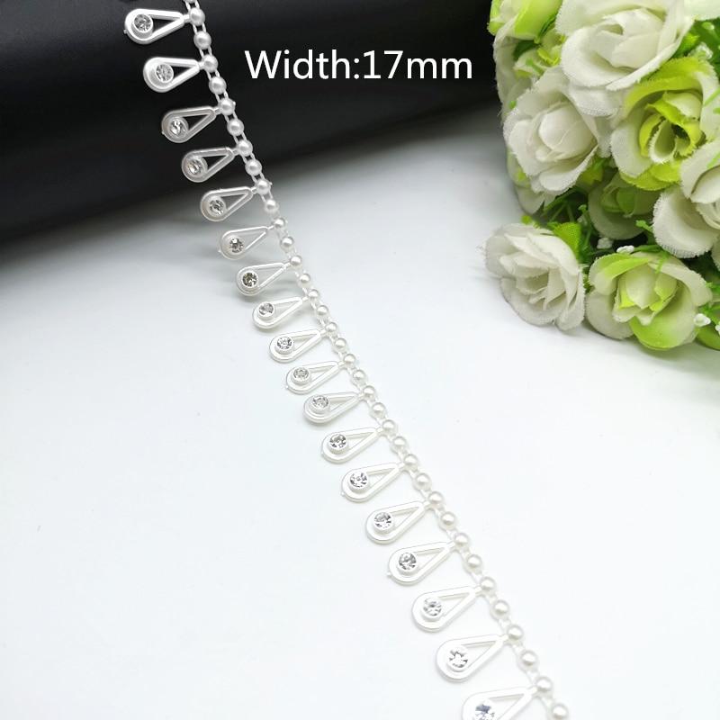 9acbc4f92d 1 yard Rhinestone Chain Pearl Crystal Chain Sew On Trims Wedding ...