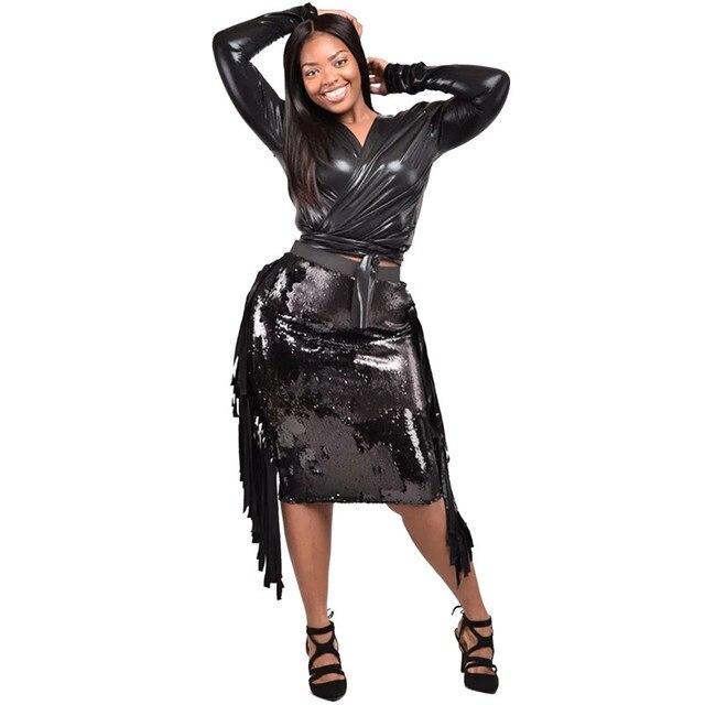 553b7356f00ed5 Black Sequin Tassel Dress Women Bandage Bodycon Two Piece Dress PU Leather  Crop Top Elegant Sexy Club Party Dresses Vestidos
