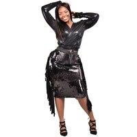 Black Sequin Tassel Dress Women Bandage Bodycon Two Piece Dress PU Leather Crop Top Elegant Sexy Club Party Dresses Vestidos