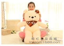 middle size lovely plush beige teddy bear toy scraf and bow teddy bear doll gift about 100cm