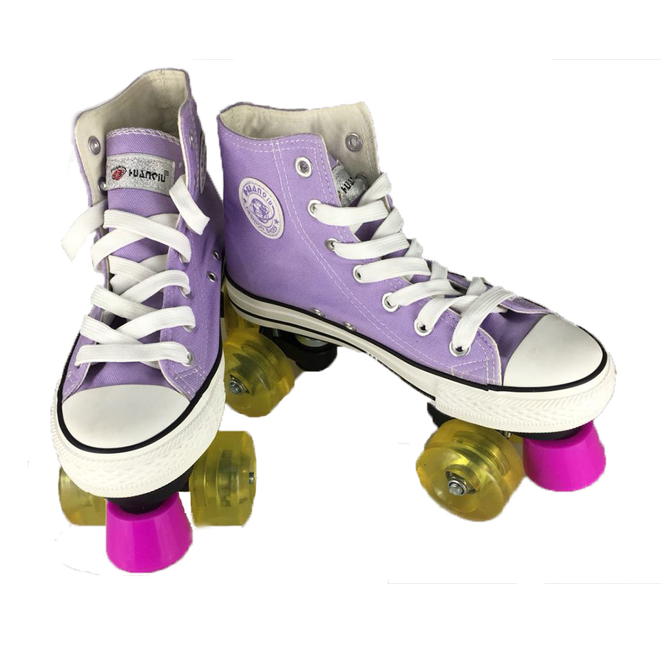 Professional Children Double Roller Skates Canvas Solid Skate Shoes For Kids Two Line Flashing Wheels Patins Unisex Adulto IB101 children adult parenting two line roller shoes skating 4 wheels double row skates patins kids pu wheels adjustable unisex ib42