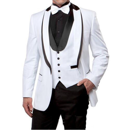 Черные смокинги жениха на одной пуговице с узором пейсли, шаль с отворотом для жениха, лучшие мужские костюмы, мужские свадебные костюмы(пиджак+ брюки+ жилет+ галстук - Цвет: 3