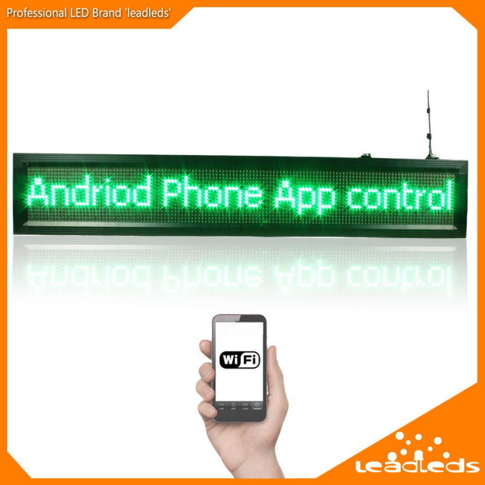 P10 Outdoor Wifi Remote Control Waterproof  LED Display Open Message Sign Board,size 104*24cm ,display 2 Lines Text