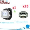 Беспроводная настольная система звонка принимает логотип и дизайн CE (1 часы + 25 кнопок вызова)
