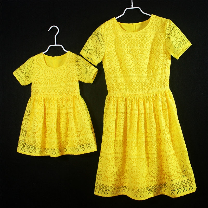 European American Summer fashion kids girls formal party skirts children birthday dress mother and daughter yellow lace dresses