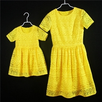 European American Summer Fashion Kids Girls Formal Party Skirts Children Birthday Dress Mother And Daughter Yellow