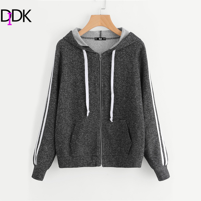 SweatyRocks Striped Sleeve Marled Knit Zip Up Hoodie Grey Long Sleeve  Sporting Sweatshirt 2017 Women Casual
