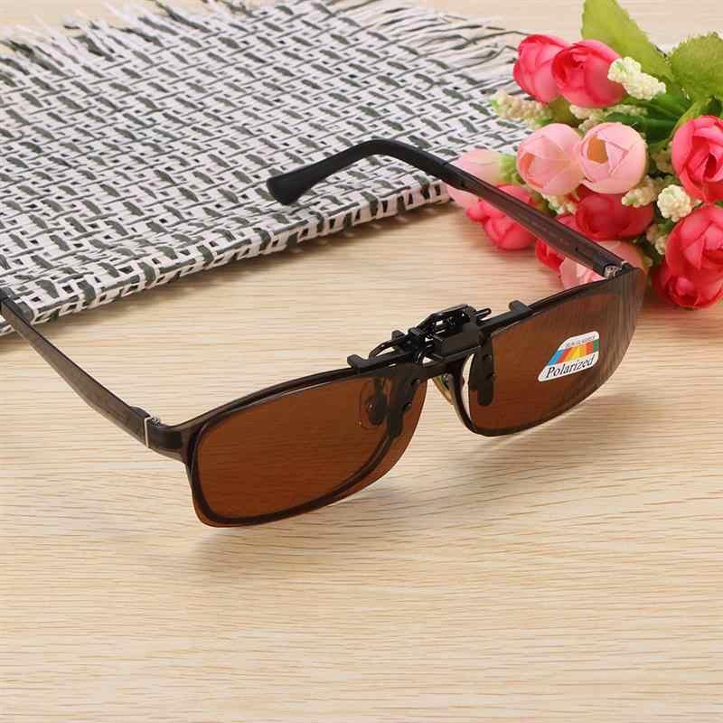 アンチグレア偏光サングラスクリップ UV400 レンズ駆動眼鏡ドライブ太陽眼鏡ダークブラウンナイトビジョンメガネ