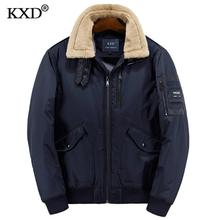 KXD 2017 Winter Cotton Padded Jacket Parkas Men Brand Autumn Windproof Thick Fleece Warm Bio Down Parka For Men Short Coat