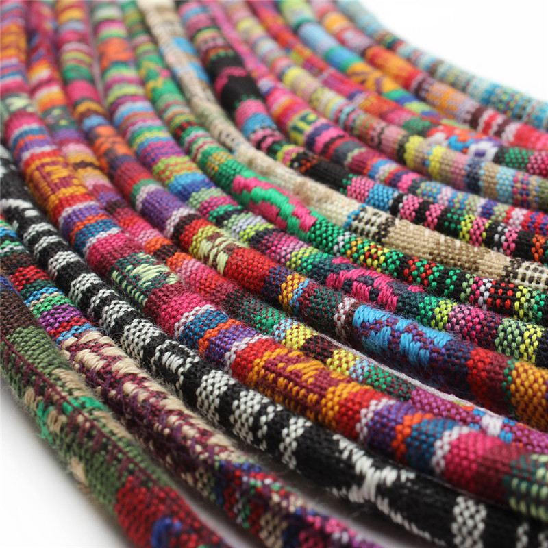 5 Meter Multi Colors Cotton Cord Handmade 6mm Round Fabric Ethnic Rope Textile Textile