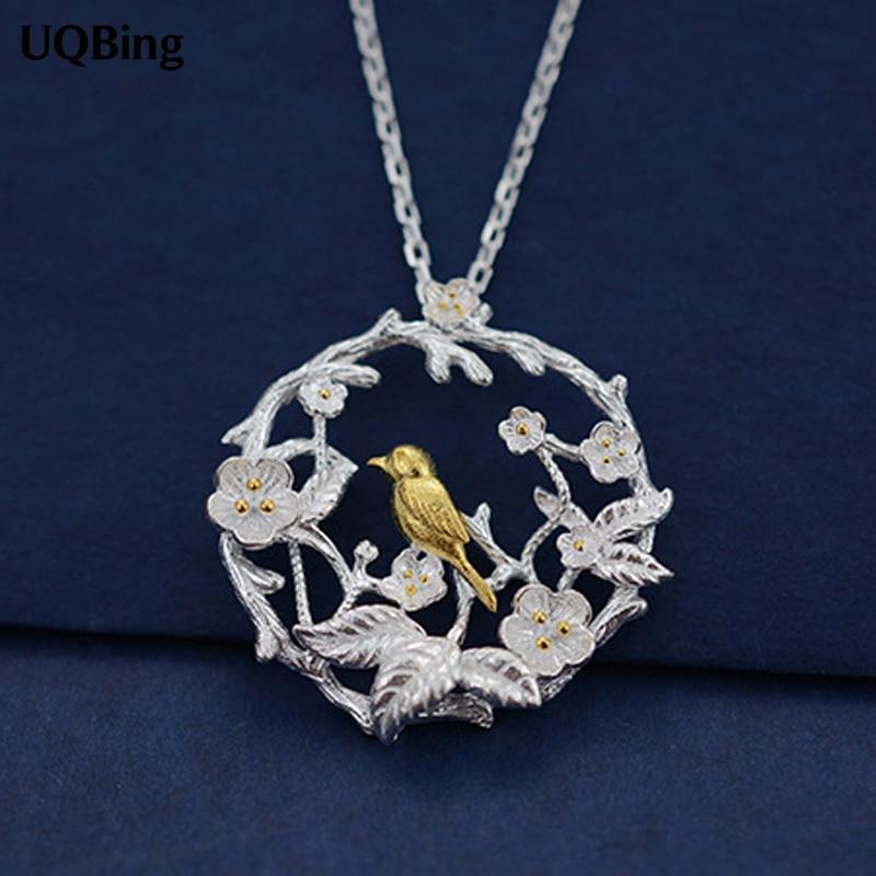 925 Sterling Silver Necklaces Gold Bird Pendants&Necklaces Pure Sterling Silver 925 Chain Necklace Jewelry Collar Colar de Plata цена