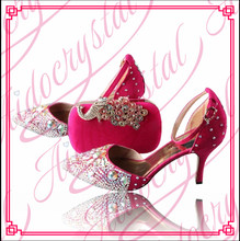 Aidocrystal Handmade white Rhinestone Crystals fuchsia peep toe Wedding Shoes matching shoes and bags italy