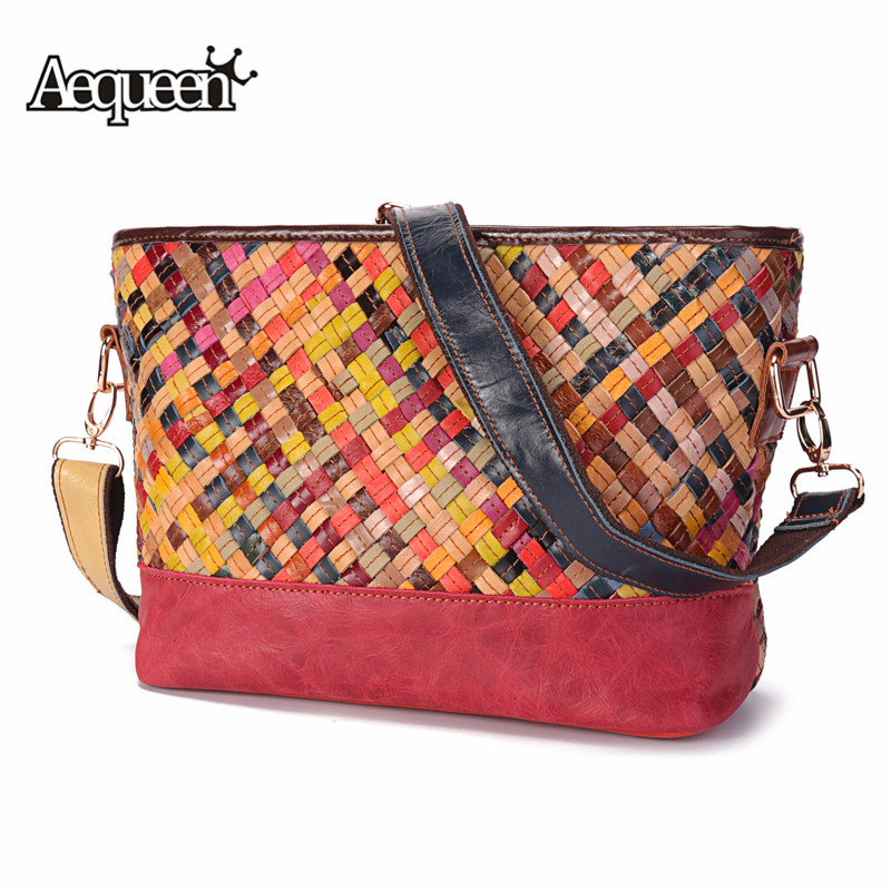 AEQUEEN Brand Design Genuine Leather Shoulder Bag Women Weaving Casual Crossbody Bags Ladies Knitting Messenger Bolsa Patchwork