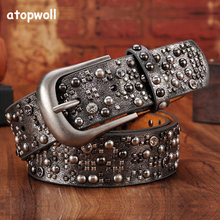 New Fashion 2019 womens Rivet belts Punk style For women Jeans PU/Genuine leather Sequins Metal buckle Wide rivet
