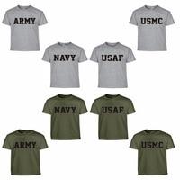 Summer US Army Navy Air Force USAF Marines USMC Military Physical Training PT T Shirt Men