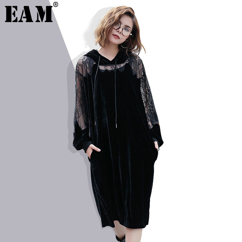 [EAM] 2018 New Autumn Hooded Long Sleeve Solid Color Black Lace Split Joint Loose Big Size Velour Dress Women Fashion JC93