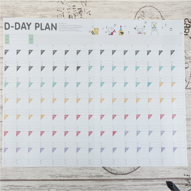 1pc 100 Day Countdown Calendar Daily Scheduler Planner Learning
