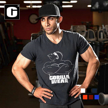 2016 summer men's bodybuilding t-shirt man the gorilla wear in the world bodybuilding and fitness  muscle t shirt