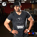 2016 verão musculação t-shirt do homem dos homens o desgaste gorila no mundo do fisiculturismo e fitness camisa do músculo t