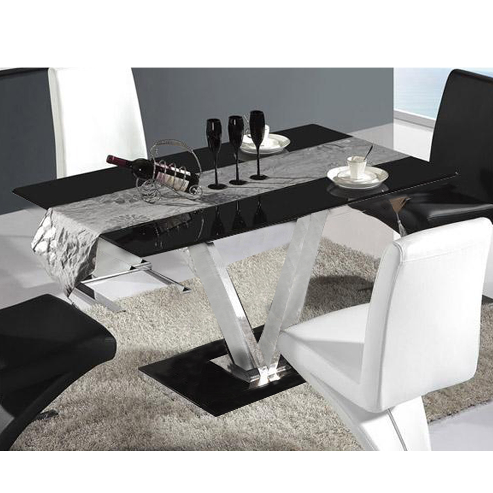 Buy glass dining table 6 seater v shape metal leg room for Table 6 seater