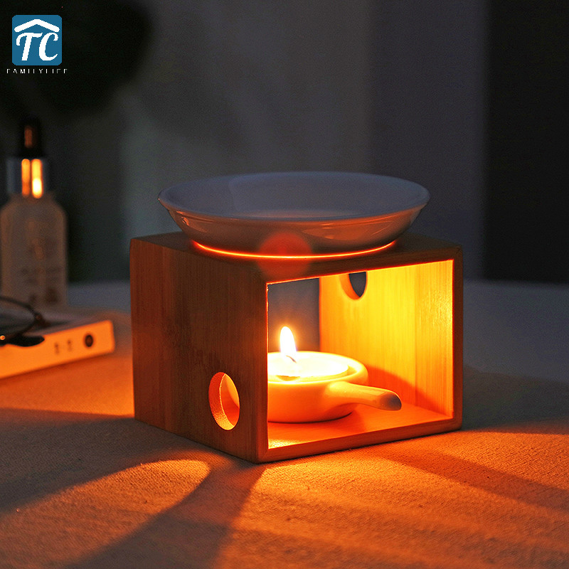 Candle Aromatherapy Furnace Bamboo Incense Burner Sleeping Home Romantic Oil Candles Holder Bedroom Lamp Beauty Fragrance coffee table